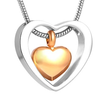 Two Hearts Urn Necklace for Ashes - Cremation Memorial Keepsake Pendant