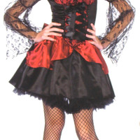 Leg Avenue Victorian Gothic Vampire Jr M/L Halloween Costume Cosplay Dress Bow