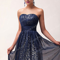 Retro Sequins Formal Party Evening Prom Dress Wedding Long Masquerade Ball Gown