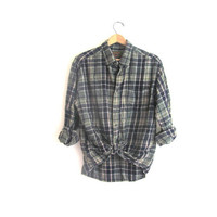 20% OFF SALE / Vintage green Plaid Flannel / Grunge Shirt / cotton button up shirt