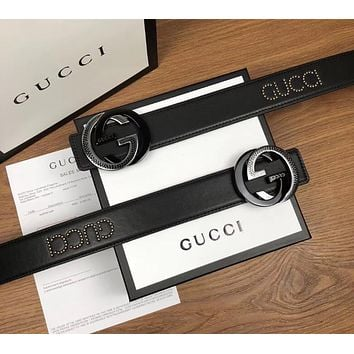 "Hot Sale ""GUCCI"" New Popular Women Men Black Smooth Buckle Leather Belt"