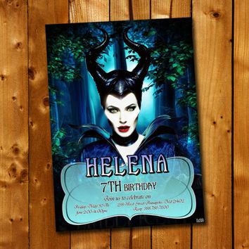Disney Maleficent Birthday Invitation, Birthday Invitation for little boy and little girl