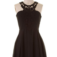 Intricate Halter Dress - Black