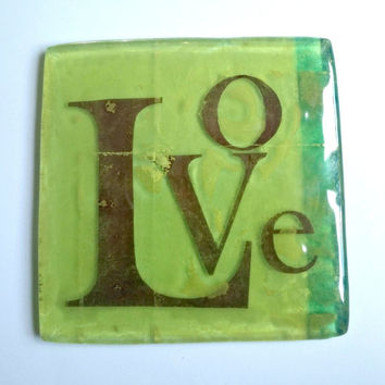 Decorative fused glass tile