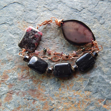 Agate slice bracelet, multi strand bracelet, chunky stone bracelet, rhodonite, watermelon tourmaline, fuschia and black, artisan jewelry