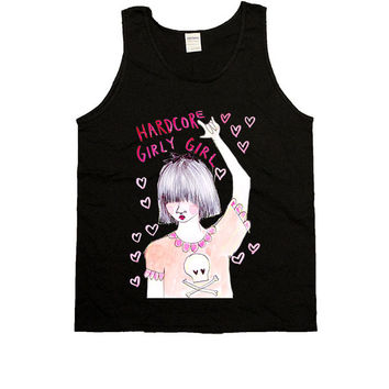 Hardcore Girly Girl -- Unisex Tanktop