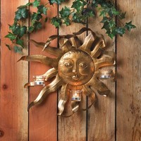 Shimmering Golden Sun Metal Candle Holder Wall Sconce