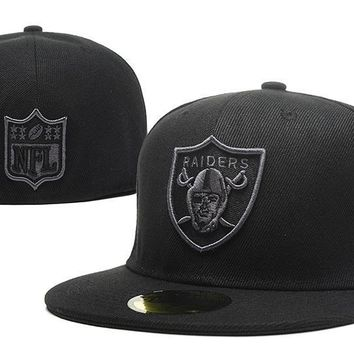 PEAPON Oakland Raiders New Era NFL Cap Americana Ultimate 59FIFTY All-Black HAT