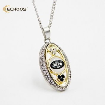 woman classic jewelry Personalized new york jets Pendant Necklaces Custom football team logo necklace Bridesmaid Gift