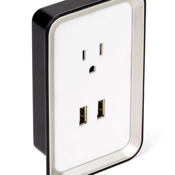Sharper Image Plate Power USB Wall Plate Charger