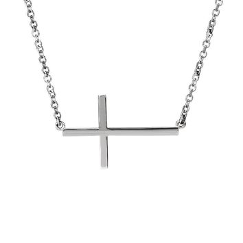 28mm Polished Sideways Cross Adjustable 14k White Gold Necklace