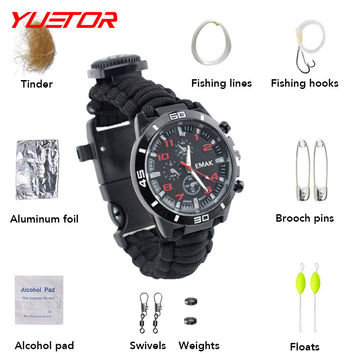 Brand YUETOR nylon fire paracord watch compass with fishing lines hook emergency climbing equipment for rescue survival bracelet