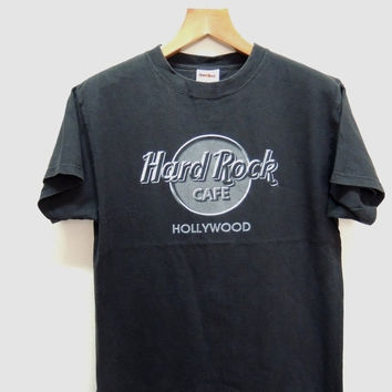 25% SALES ALERT Vintage 90's Hard Rock Cafe Hollywood Souvenier Street Wear Hip Hop Tee T Shirt Punk Rock Size M