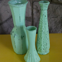 Vintage Painted Vases, Shabby Chic, Minty Green