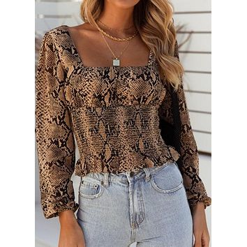Blouse Women's Ruched Snake Print U Neck Long Sleeve Fitted
