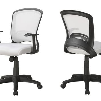 Office Chair - White Mesh Mid-Back / Multi-Position