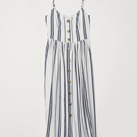 Dress with Buttons - White/dark blue striped - Ladies   H&M US