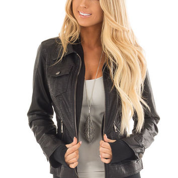 Black Faux Leather Layered Moto Jacket with Hood