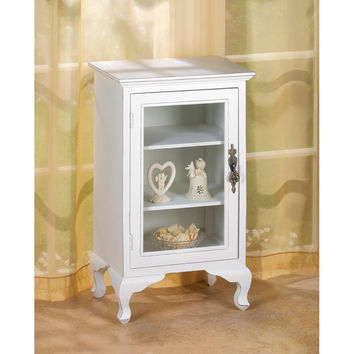 Accent Table Cabinet-White Wood Clear Glass Door Display