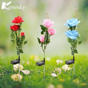Konesky  Christmas Lights Solar Power 3 LED Rose Flower LED Lamp Garden Yard Lawn Decoration View Lamp Red/Blue/Pink Lamps