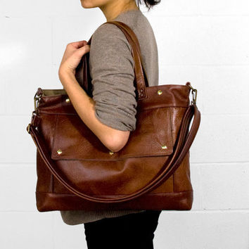 $268.00 Archive Bag in Chestnut Brown Leather Made to order by jennyndesign