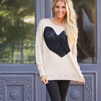 I Heart Style Sweater Black Heart Ivory Sweater