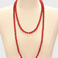 "60"" red faux 8mm pearl layered long faux choker collar bib statement Necklace red"