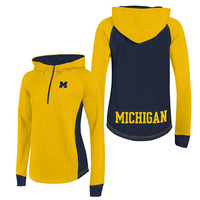 SEARCH Champion University of Michigan Women's Yellow Heritage Pullover 1/4 Zip Hood