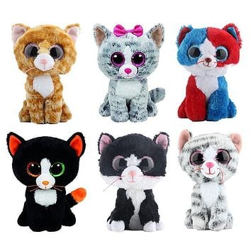 Elsadou Ty Beanie Boos Stuffed & Plush Animals Black Cat Doll Toys for Children Gift