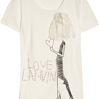 Lanvin - Embellished cotton and bamboo-blend jersey T-shirt