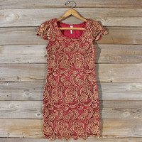 Gilded Autumn Lace Dress