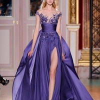 New Sexy Purple Long Party Prom Evening Dress Formal Gowns Lace Sleeveless Hot