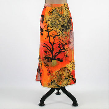 Linen Maxi Skirt Large African Safari Animal Print Cheetah Leopard Long Skirt Rayon Orange Yellow Kaktus Vintage Clothing Womens Clothing