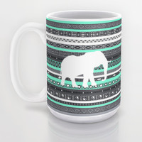 Tiffany Aztec White Elephant Pattern Design Mug by RexLambo