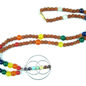 Spiritual Chakra Nine Stones for Yoga, Reiki & Healing Pendant Mala Necklace