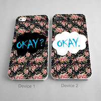 The Fault In Our Star Okay Okay Vintage Flower Couples Phone Case iPhone 4/4S, 5/5S, 5C Series - Hard Plastic, Rubber Case