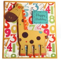 Yellow Wooden Giraffe Child Birthday Card on Handmade Artists' Shop