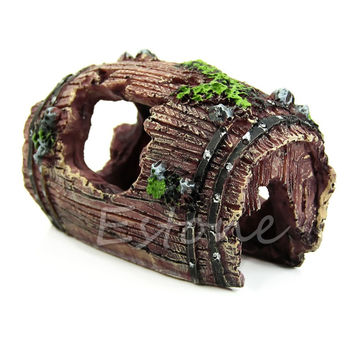 Free Aquarium Fish Tank Artificial Barrel Resin Ornament Cave Landscaping Decoration