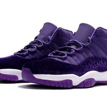 Air Jordan Retro 11 Velvet Purple Flowers Pattern Basketball Shoes Men Women 11s Velve