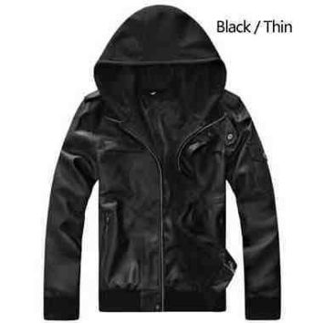 Mens Modern Faux Leather Jacket