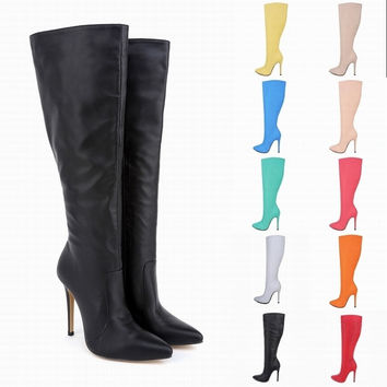 Sexy Slim Women Shoes Point Toe Thigh High Boots Fashion Gladiator Heels Boots Over The Knee Long Zipper Boots