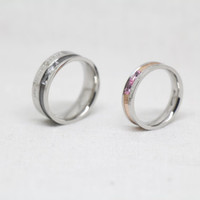 2 PCs- Titanium stainless promise rings,couple rings,wedding bands,lovers rings,Free Engraving