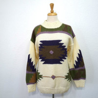 Vintage 80s Sweater Southwester Aztec Tribal Geometric 1980s Slouchy Bohemian Medium