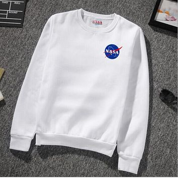 NASA Young Men and Women Sweatshirts Junior Sports NASA Hoodies Capless Sweatshirts White