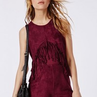 Missguided - Suedette Fringed Front Playsuit Oxblood