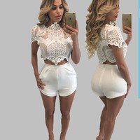 Hot Sale 2016 Sexy Lace Crop Top White Crochet Top Hollow Out Short Summer Tank Top Floral Womens Crop Top Bustier