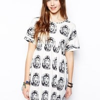 ASOS Smock Dress With Lion Head Print - Print