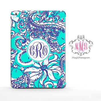 Sea Foam Montauk Lilly Pulitzer Monogram iPad Air Case, iPad Mini Case