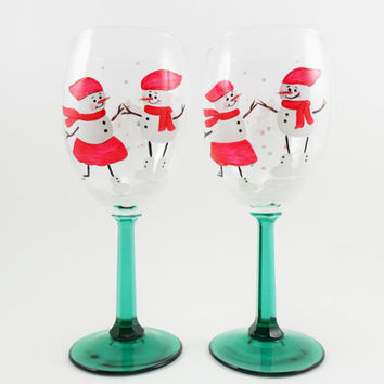 Snowman Snow Woman White Christmas Tree Wine Glasses Hand Painted Set of 2