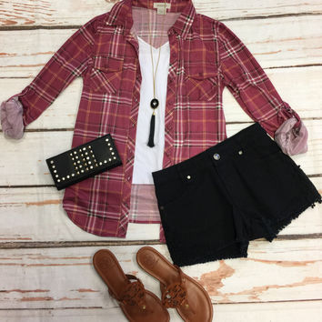 Penny Plaid Flannel Top: Burgundy/White